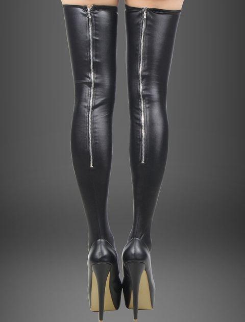 Fantazi Dizüstü Çoraplar Merry See Arkası Fermuarlı Deri Çorap