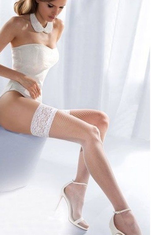 Jartiyer Çorap Beyaz File Jartiyer Çorap Silikonlu Dantelli Merry See