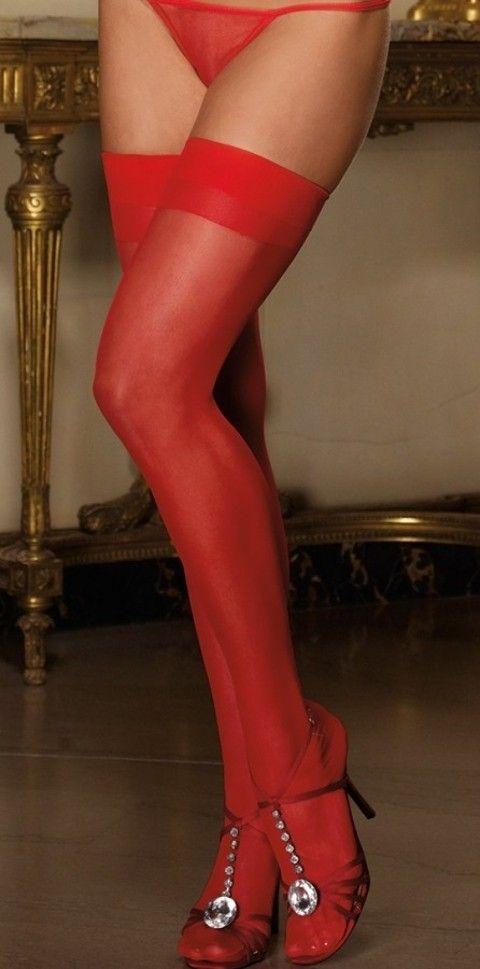 Jartiyer Çorap Merry See Kırmızı Dantelsiz Jartiyer Çorabı