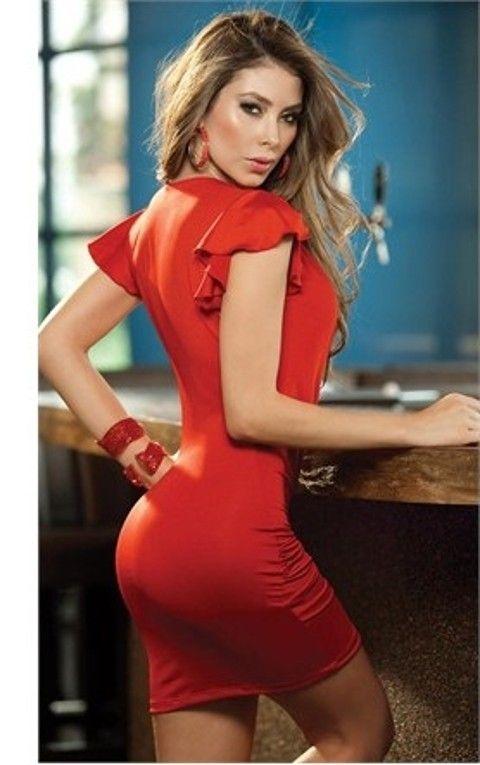 Gece Elbiseleri Merry See Kırmızı Gögüs Dekolteli Seksi Elbise