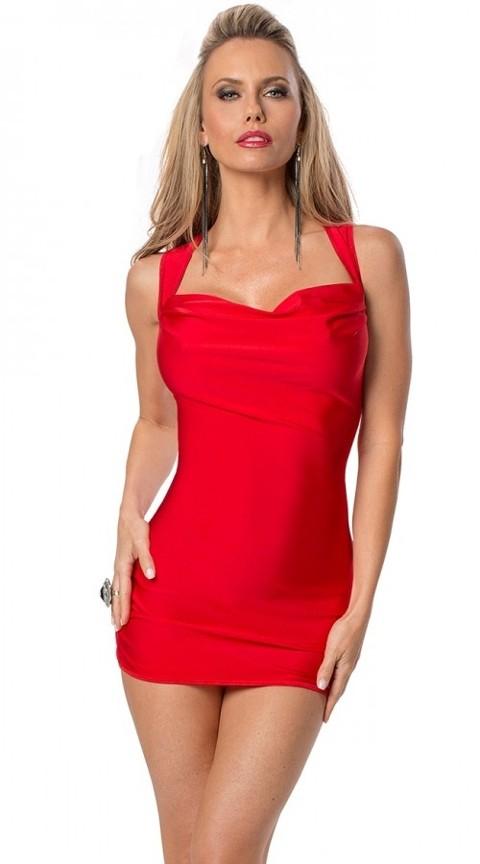 Gece Elbiseleri Merry See Kırmızı Sırt Dekolteli Süper Mini Elbise