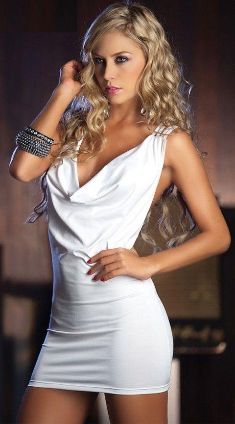 Gece Elbiseleri Merry See Özel Tasarım Beyaz Mini Elbise