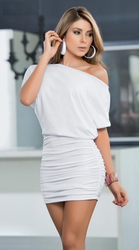 Merry See Beyaz Mini Gece Elbisesi