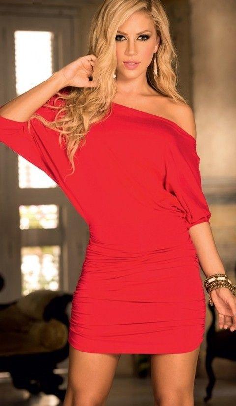Gece Elbiseleri Merry See Şık Kırmızı Mini Elbise