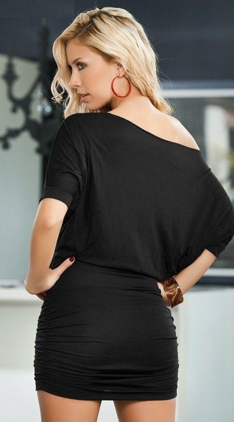Gece Elbiseleri Merry See Şık Siyah Mini Elbise