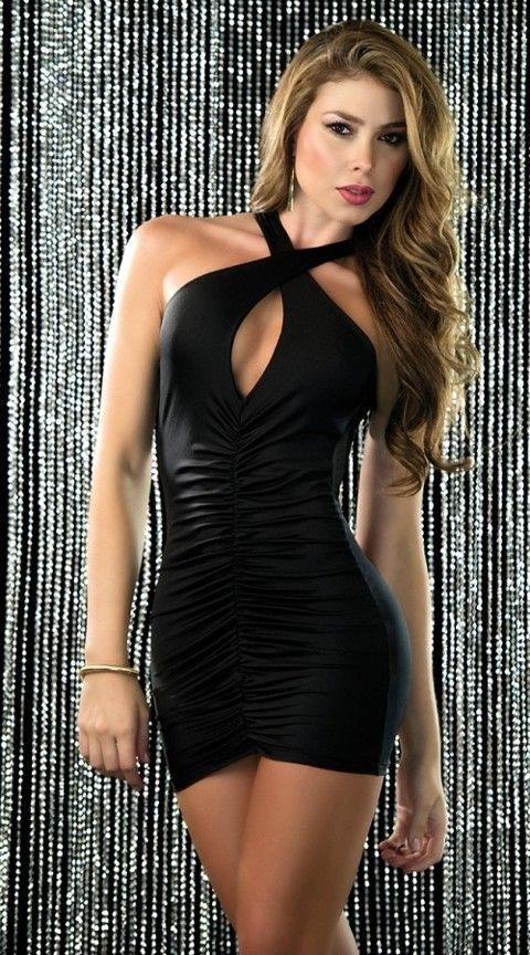 Gece Elbiseleri Merry See Sırt Dekolteli Mini Siyah Ebise