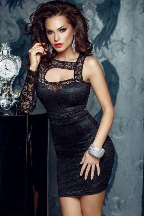 Merry See Siyah Dantel Gece Elbisesi