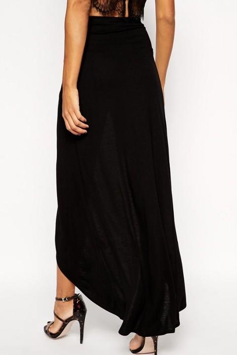 Seksi Uzun Elbiseler Merry See Siyah Uzun Önden Yırtmaçlı Etek