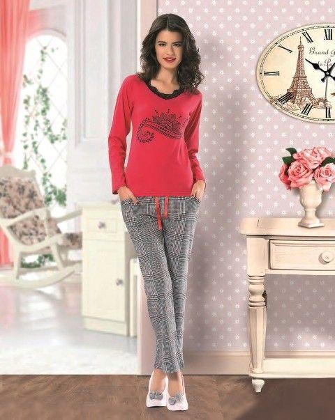 NBB Bayan V Yaka Ekose Desenli Pijama 6943