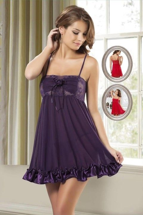 New Night Dantelli Seksi Şifon Babydoll