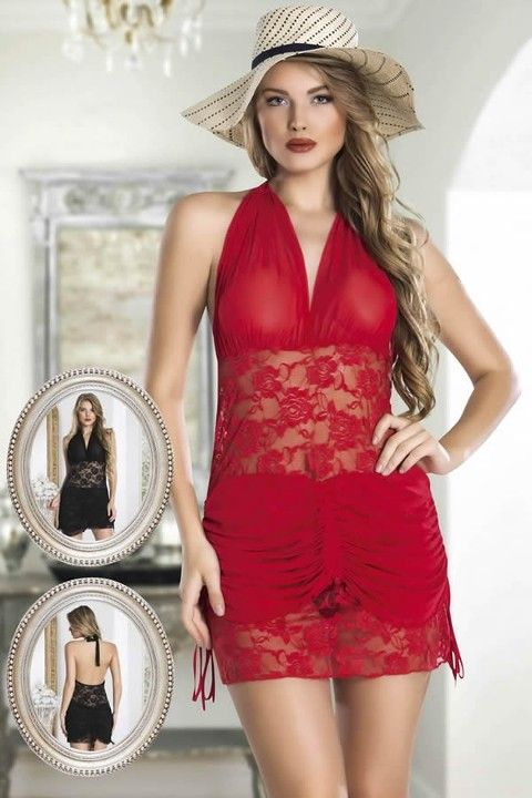New Night Dantelli Transparan Halter Babydoll Takım
