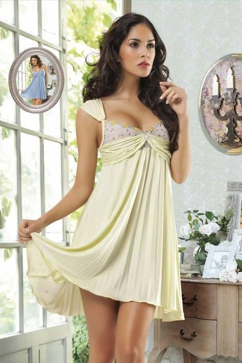 New Night Pliseli Seksi Babydoll