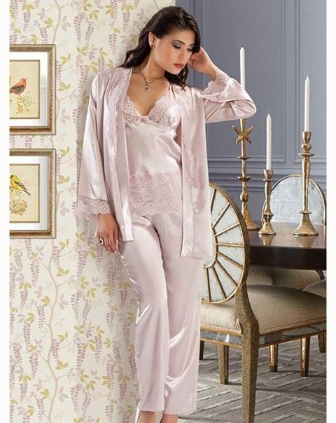 Nilay 940 Saten Üçlü Pijama Takım