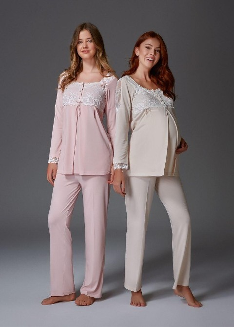 Omuz Dantel Lohusa Pijama Takım Bone Club 4411