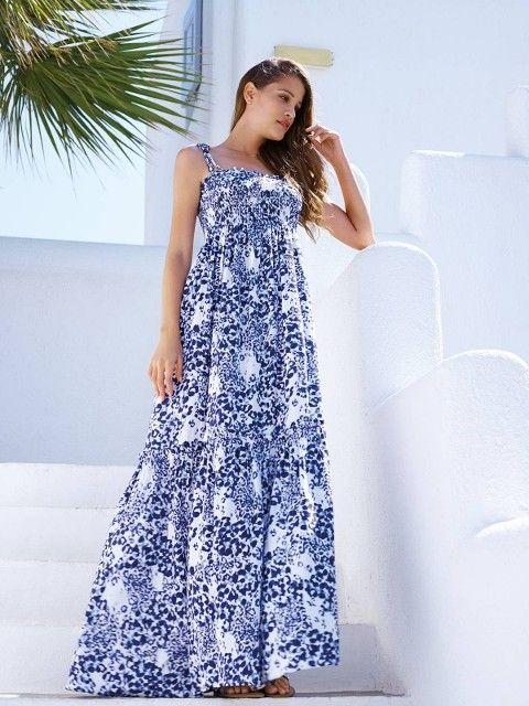 Penye Mood Askılı Bol Maxi Elbise 7734