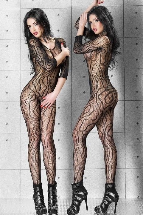 Redhotbest Abstract Desenli Seksi Vücut Çorabı