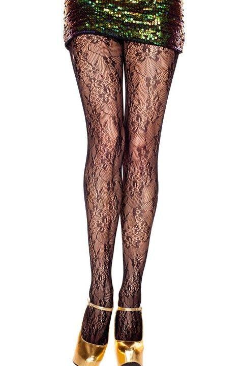 Fantazi Külotlu Çoraplar Redhotbest Sarmaşık Çiçek Motifli Seksi Külotlu Çorap