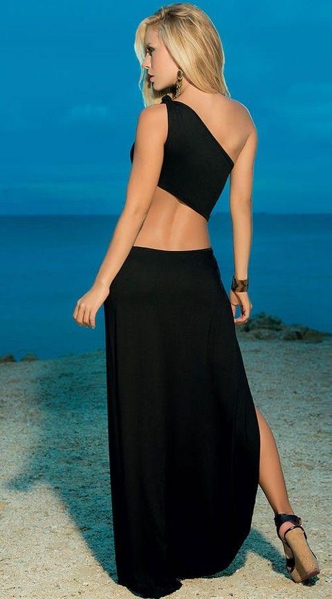 Seksi Uzun Elbiseler Redhotbest Tam Yırtmaçlı Seksi Uzun Elbise