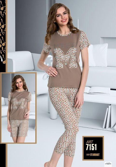 Renkli 3 Lü Set Kapri Şort Pijama Takımı Lady 7151