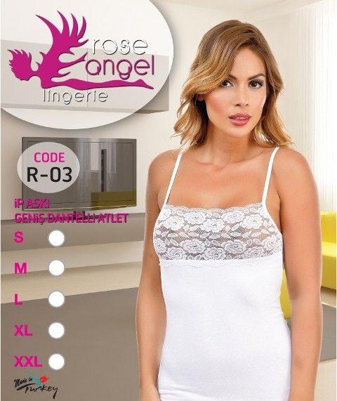 Rose Angel İp Aski Geniş Dantelli Atlet R-03