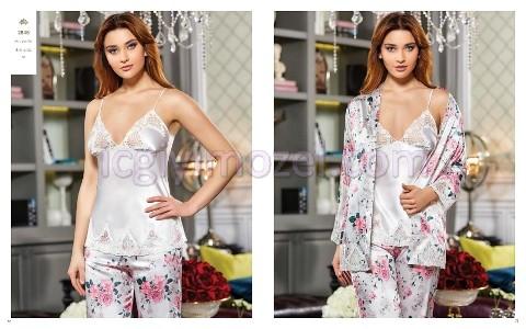 Saten Desenli Üçlü Pijama Takım Jeremi 2846