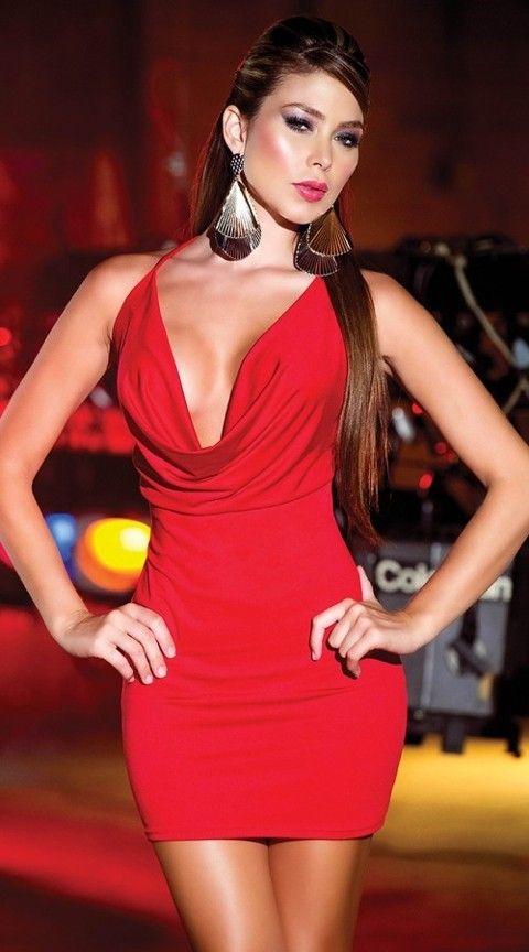 Gece Elbiseleri Sırtı Metal Aksesuarlı Kırmızı Mini Elbise
