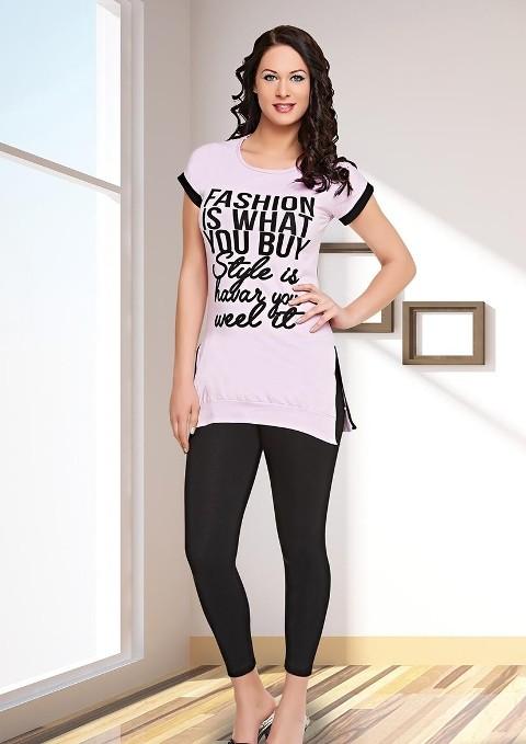 Siyah Beyaz Tayt Pijama Takımı Dünya Yıldızı 5503