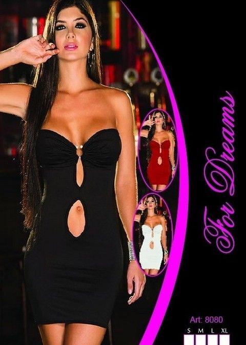 Siyah Seksi Gece Giyim Mini Elbise For Dreams 8080
