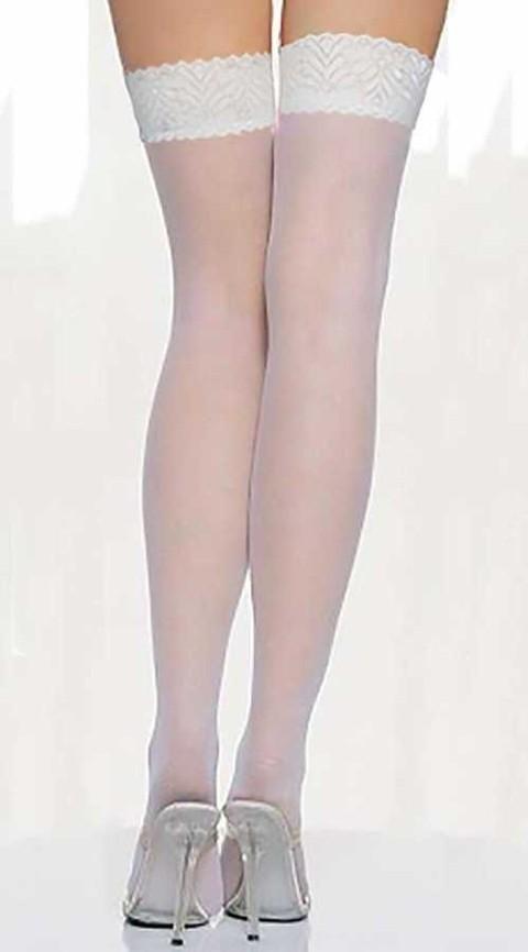Fantazi Jartiyer Çorap Vixson Beyaz Dantel Çorap