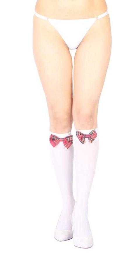 Fantazi Dizaltı Çoraplar Vixson Beyaz Diz Altı Kırmızı Ekose Kurdeleli Çorap Ve G String Seti