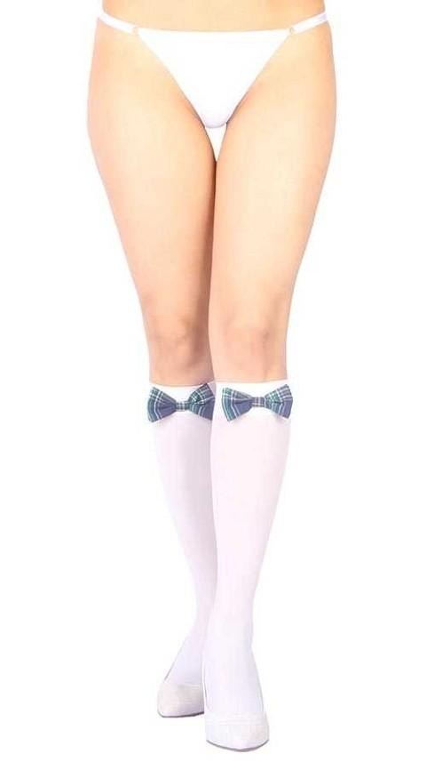 Fantazi Dizaltı Çoraplar Vixson Beyaz Diz Altı Mavi Ekose Kurdeleli Fantazi Çorap Ve G String Seti