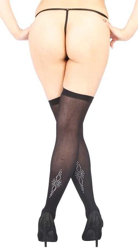 Fantazi Jartiyer Çorap Vixson Bilek Üstü Parlak Taş Tasarımlı Siyah Jartiyer Çorabı