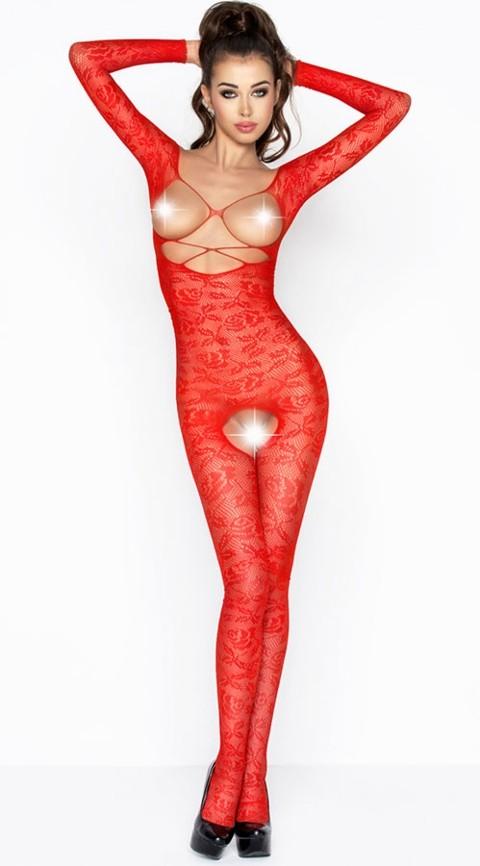 Vixson Göğüs Ve Özel Bölgesi Açık Kırmızı Vücut Çorabı