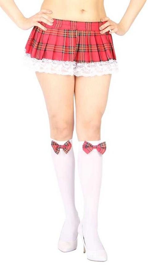 Erotik Kostümler Vixson Kırmızı Ekoseli Mini Etek Ve Diz Altı Seksi Çorap Takımı