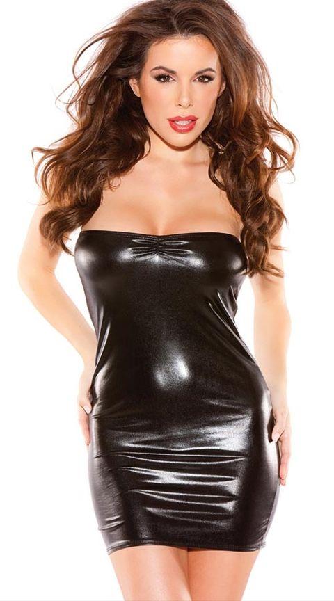 Vixson Siyah Deri Görünümlü Fantazi Elbise