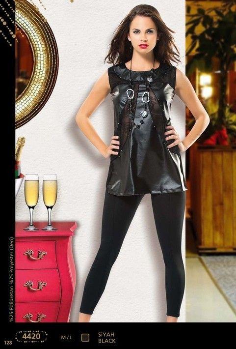 Anıt İç Giyim Tüllü Deri Tayt Takım 4420
