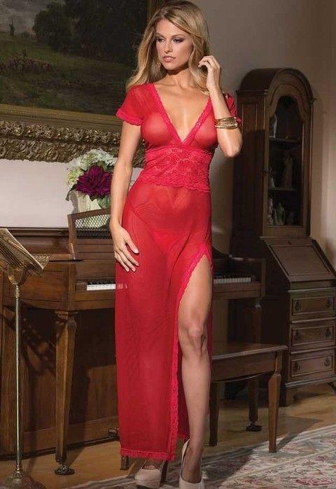 Merry See Kırmızı Uzun Gecelik - 1084