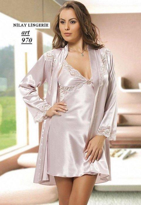 Nilay İç Giyim Saten Gecelik Sabahlık Takımı 970