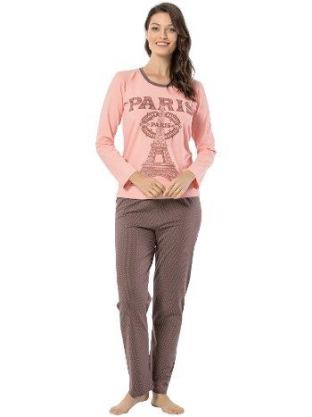 Akbeniz Bayan Uzun Kol Pijama Takımı 2445