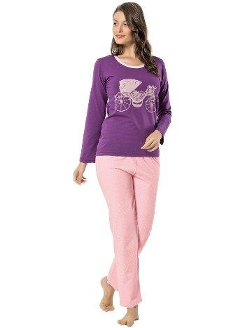 Akbeniz Bayan Uzun Kol Pijama Takımı 2446