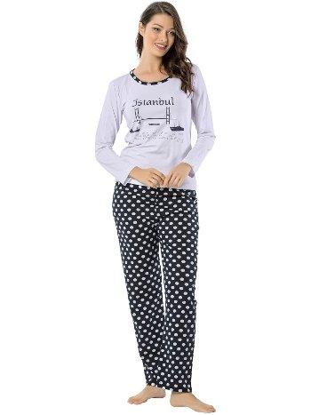 Akbeniz Bayan Uzun Kol Pijama Takımı 2447