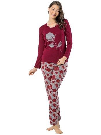 Akbeniz Bayan Uzun Kol Pijama Takımı 2451