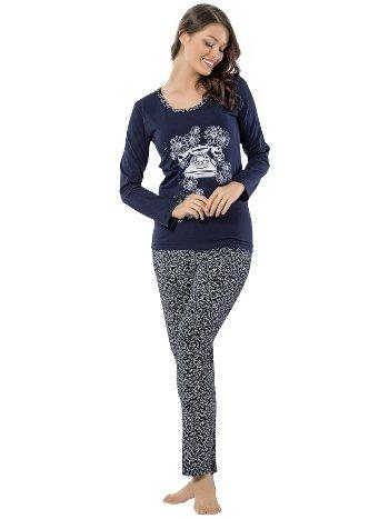 Akbeniz Bayan Uzun Kol Pijama Takımı 2454