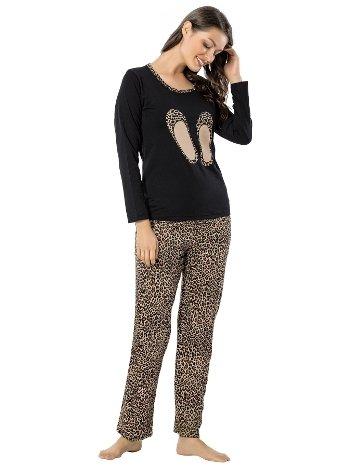 Akbeniz Bayan Uzun Kol Pijama Takımı 2455