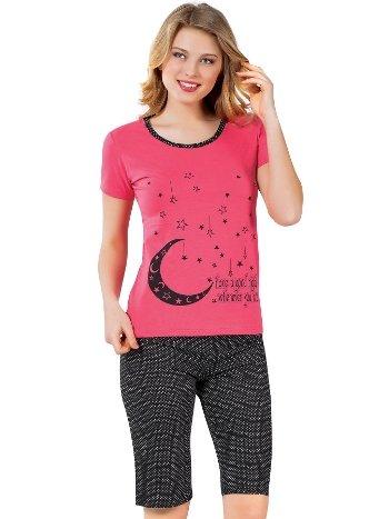Akbeniz Kadın Kısa Kol Nar Çiçeği Kapri Pijama Takımı 3126Y