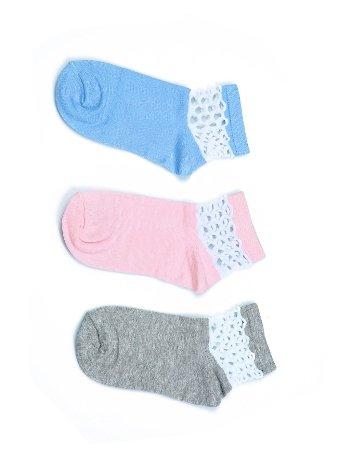 Akbeniz Kadın Mavi - Pembe - Gri 3'lü Pamuk Patik Çoraplar 5528