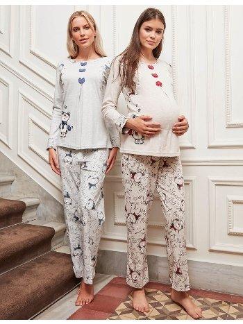Bone Club 4620 İnterlok Nakışlı Hamile ve Lohusa Pijama Takımı