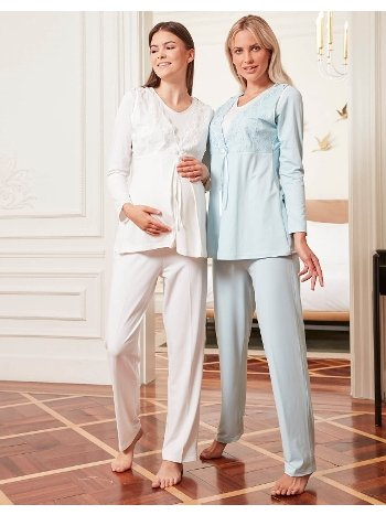 Bone Club 4805 Velsoft Hamile ve Lohusa 3'lü Pijama Takımı