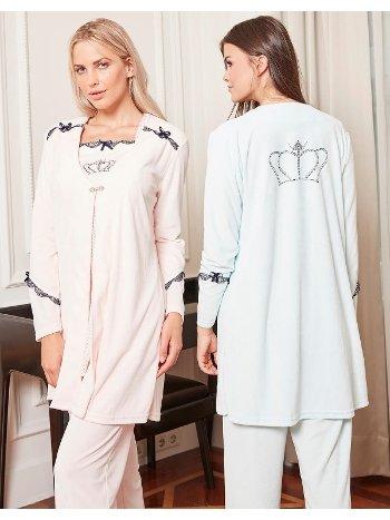 Bone Club 4806 Kadife 3'lü Pijama Takımı