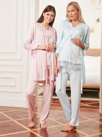 Bone Club 4807 Hamile ve Lohusa 3'lü Pijama Takımı